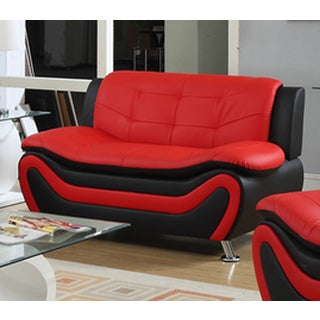 Roselia Faux Leather Contemporary Style Black and Red Loveseat