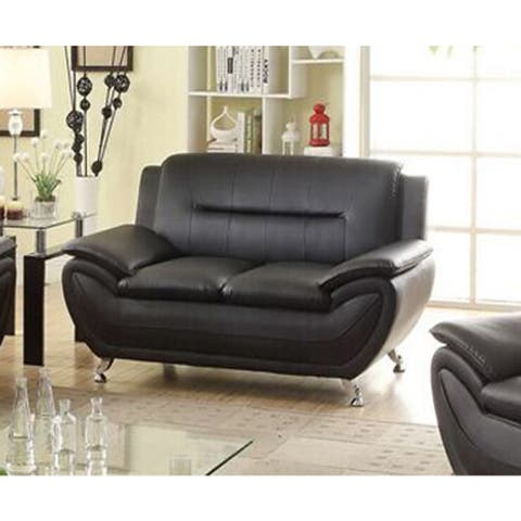 Deliah Faux Leather Black Urban Style Loveseat