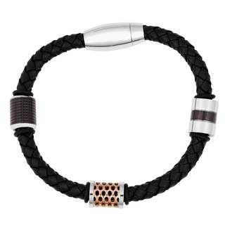 Men's Braided Leather and Stainless Steel Bead Bracelet
