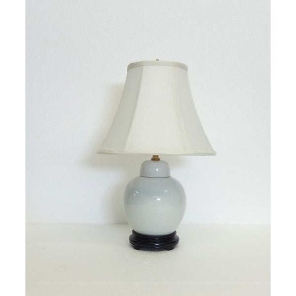 Baby Jane White Porcelain Jar Table Lamp with Silk Shade