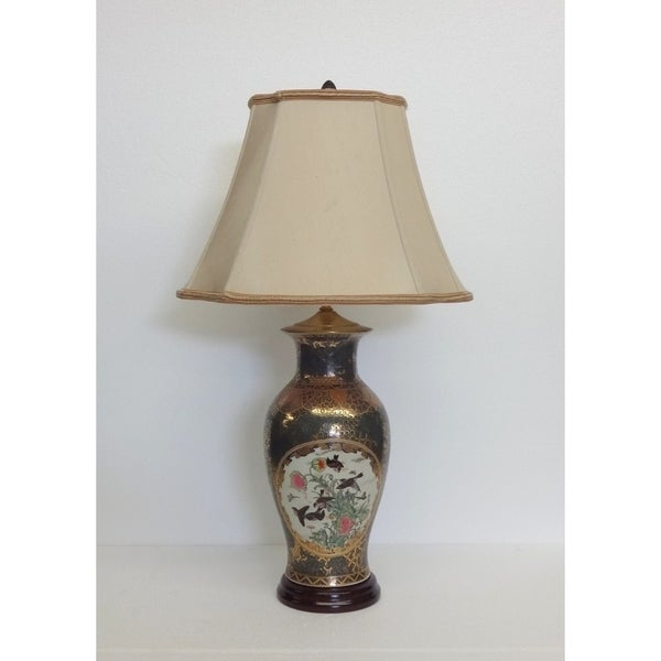 Birds Frolic White/Green/Gold Porcelain Table Lamp