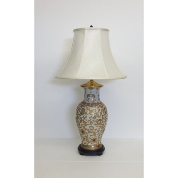Cream and Gold Scrolls Porcelain Table Lamp