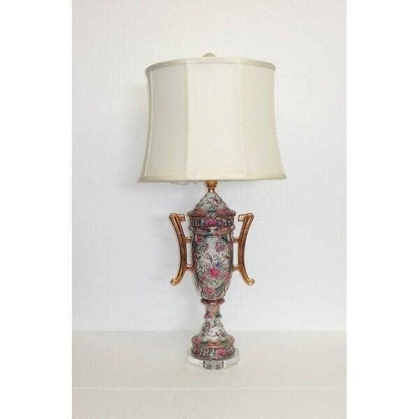 Multicolor Porcelain/Silk Rose Medallion Trophy Vase Table Lamp