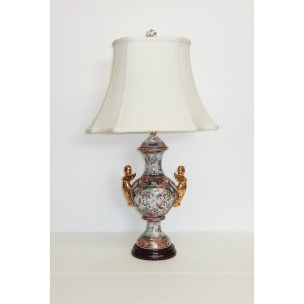 Rose Medallion Angels Porcelain and Silk Table Lamp