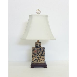 Green And Gold Scroll Flask Porcelain Table Lamp