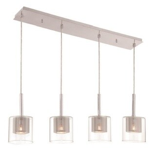 Decor Therapy Steel Glass Rectangular Pendant Light
