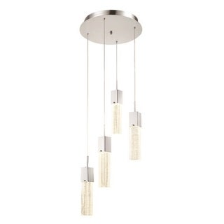 Decor Therapy Chrome Steel/Aluminum/Glass 4-light Adjustable LED Pendant Light