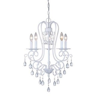 Decor Therapy White Steel 5-light Crystal Chandelier
