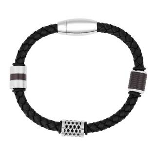 Men's Black Leather and Stainless Steel Bead Bracelet