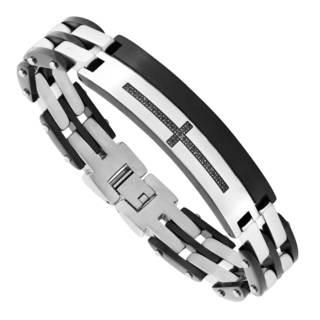 Men's Stainless Steel and Black Cubic Zirconia Cross Bracelet