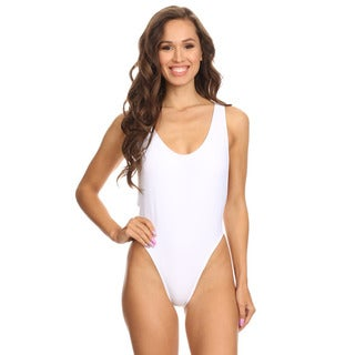 Dippin' Daisy's Womens Solid White V-Cleavage High Cut One Piece