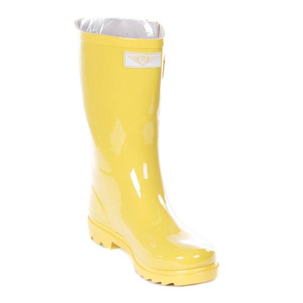 Women's Yellow Rubber 11-inch Mid-calf Rain Boots