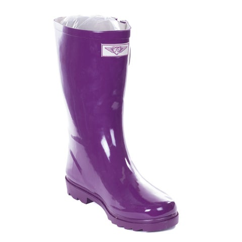Forever Young Women's Purple Rubber 11-inch Mid-calf Rain Boots