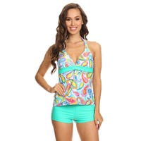 Dippin' Daisy's Women's Mint Paisley Two-piece Halter Tankini With Boyshorts