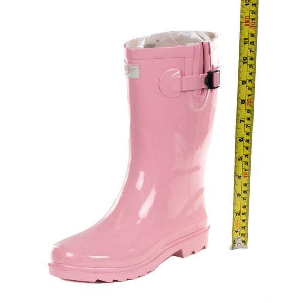 Pink Rubber 11-inch Mid-calf Rain Boots