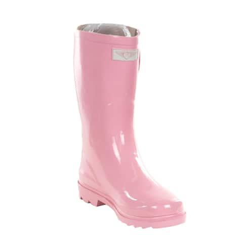 Women's Pink Rubber 11-inch Mid-calf Rain Boots