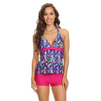 Dippin' Daisy's Women's Blue Plaid Two-piece Halter Tankini With Boyshorts