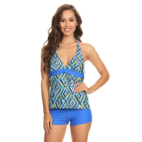 5ace2598313b5 Shop Women's Blue Crystal Nylon/Spandex Two-piece Halter Tankini with  Boyshorts - Free Shipping On Orders Over $45 - Overstock - 12837839