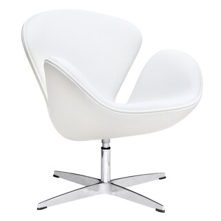 White Leather Swan Chair