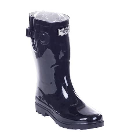 Womens Black Rubber 11-inch Mid-calf Rain Boots