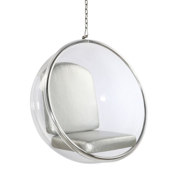 Shop Bubble Clear and Silver Acrylic Hanging Chair - Free ...
