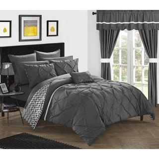 Potterville Grey Pintuck Chevron Microfiber 20-Piece Bed-in-a-Bag with Sheet Set