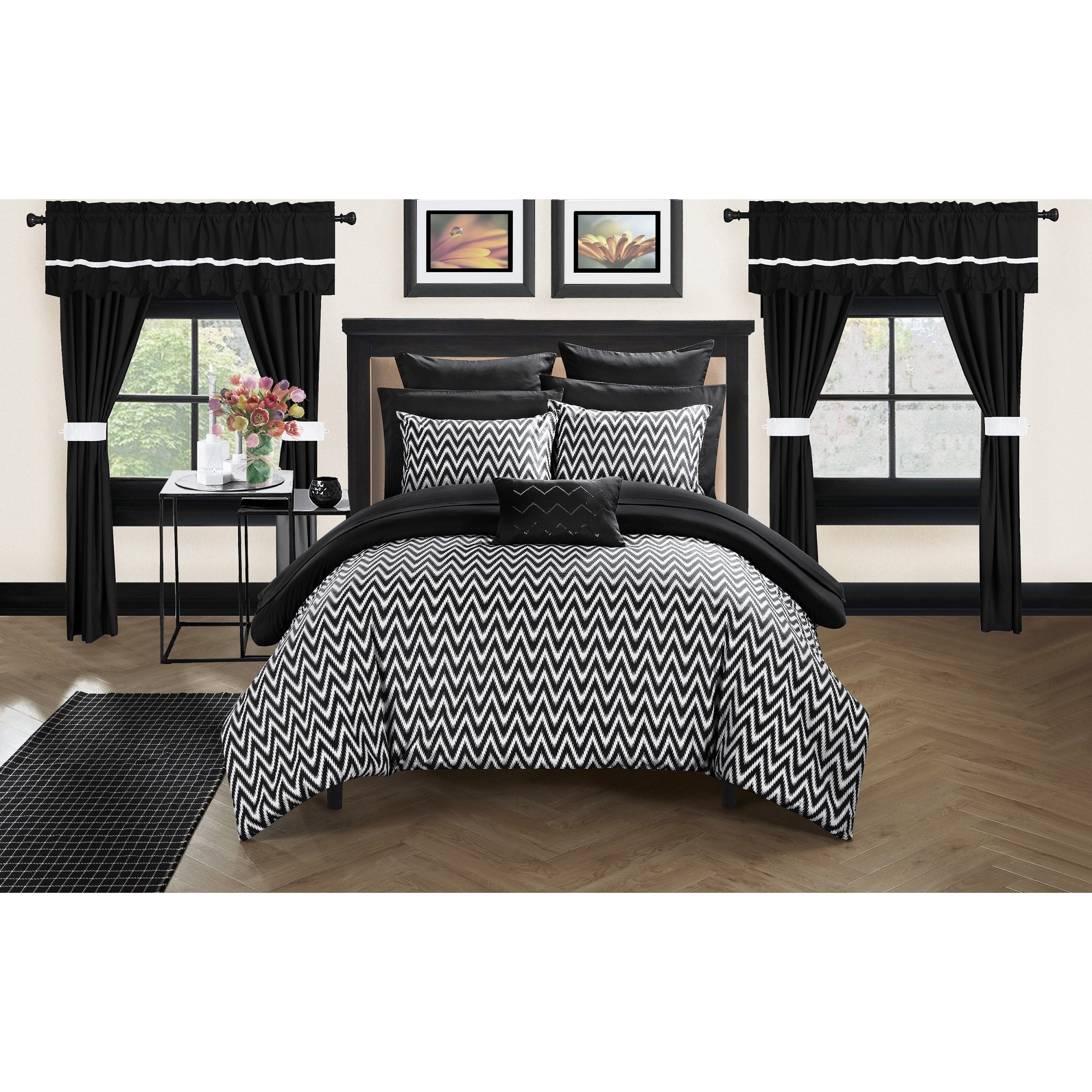 Chic Home Potterville Black Pintuck 20-Piece Bed-In-A-Bag...