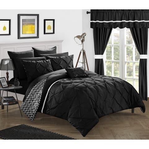 Porch & Den Fruita Black Pintuck 20-piece Bed in a Bag Microfiber Comforter Set