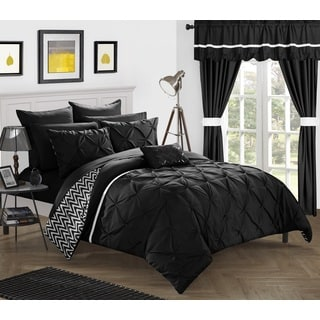 Potterville Black Pintuck 20-Piece Bed-In-A-Bag Microfiber Comforter Set