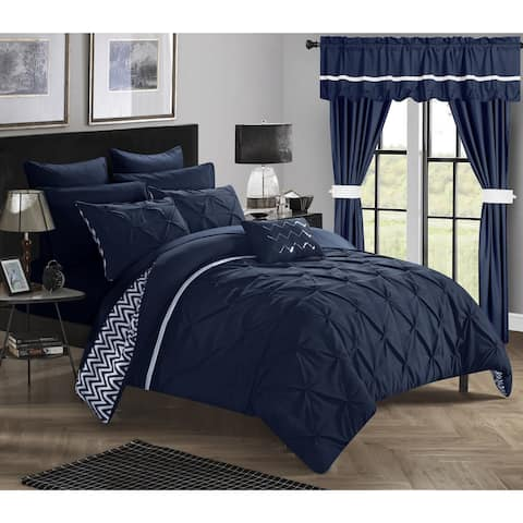 Porch & Den Red Cliff Navy 20-piece Bed in a Bag with Curtains Set