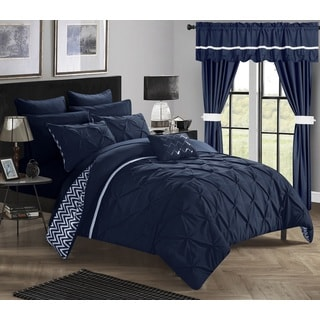 Chic Home Potterville Navy 20-piece Bed-in-a-Bag with Curtains Set
