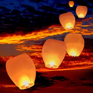 SB White Chinese Paper 10-inch Wishing Candle Sky Lanterns (Set of 10)