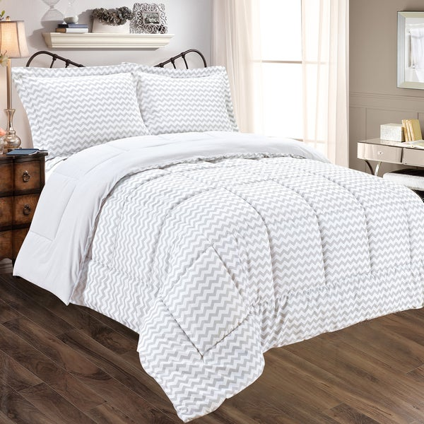 Grey Chevron Reversible 3-piece Comforter Set