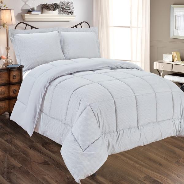 Grey Dot Print Reversible Microfiber 3-piece Comforter Set