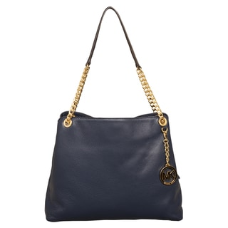Michael Kors Large Jet Set Chain Navy Blue Tote Bag
