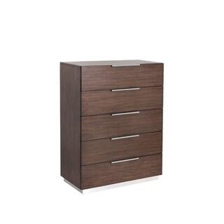 Sunpan Konrad Brown Wood 5-drawer Chest