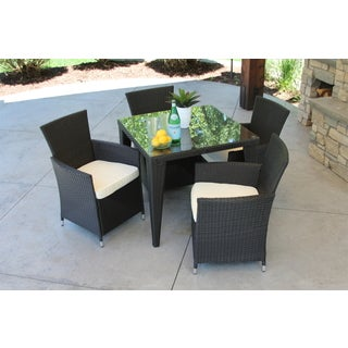 Outdoor All Weather Rattan Wicker Garden Black 5-piece Dining Set
