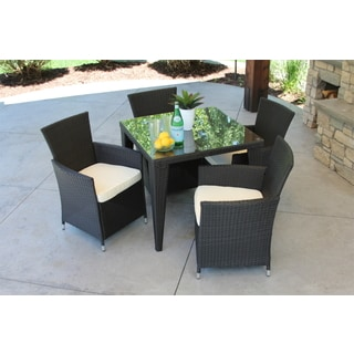 Outdoor All Weather Rattan Wicker Garden Black 5-piece Dining Set