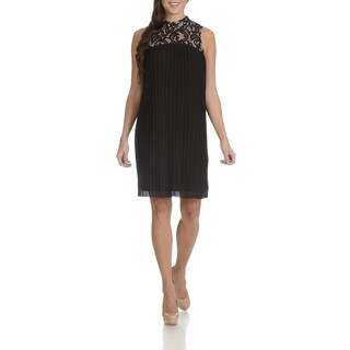 London Times Women's Black Lace Pleated Trapeze Dress