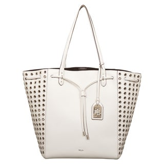 Ralph Lauren Large Oxford Rivet White Tote Bag