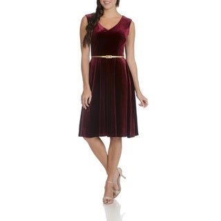 London Times Women's Velvet Belted Dress