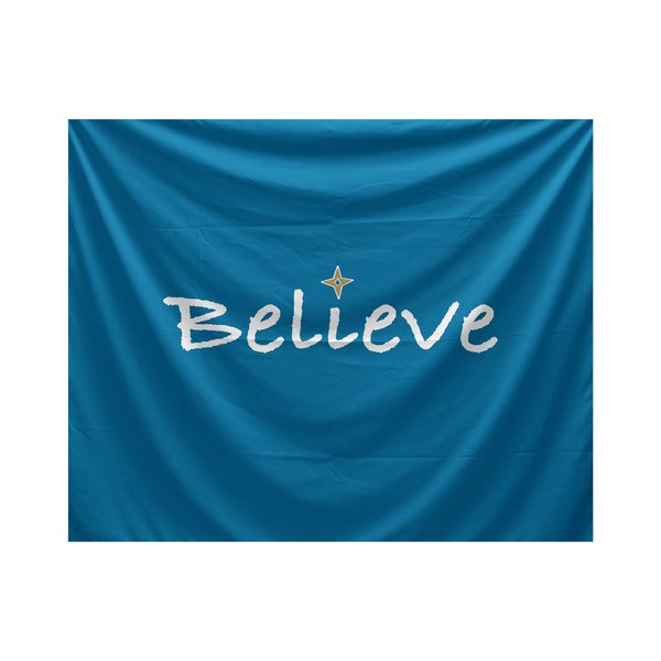 E by Design Believe Word Print Tapestry