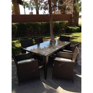 Outdoor All Weather Rattan Wicker Patio Garden Brown 7-piece Dining Set