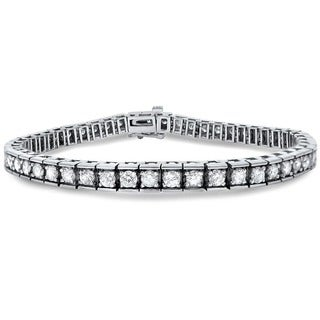Noori 14k White Gold 5ct TDW Round Diamond Tennis Bracelet