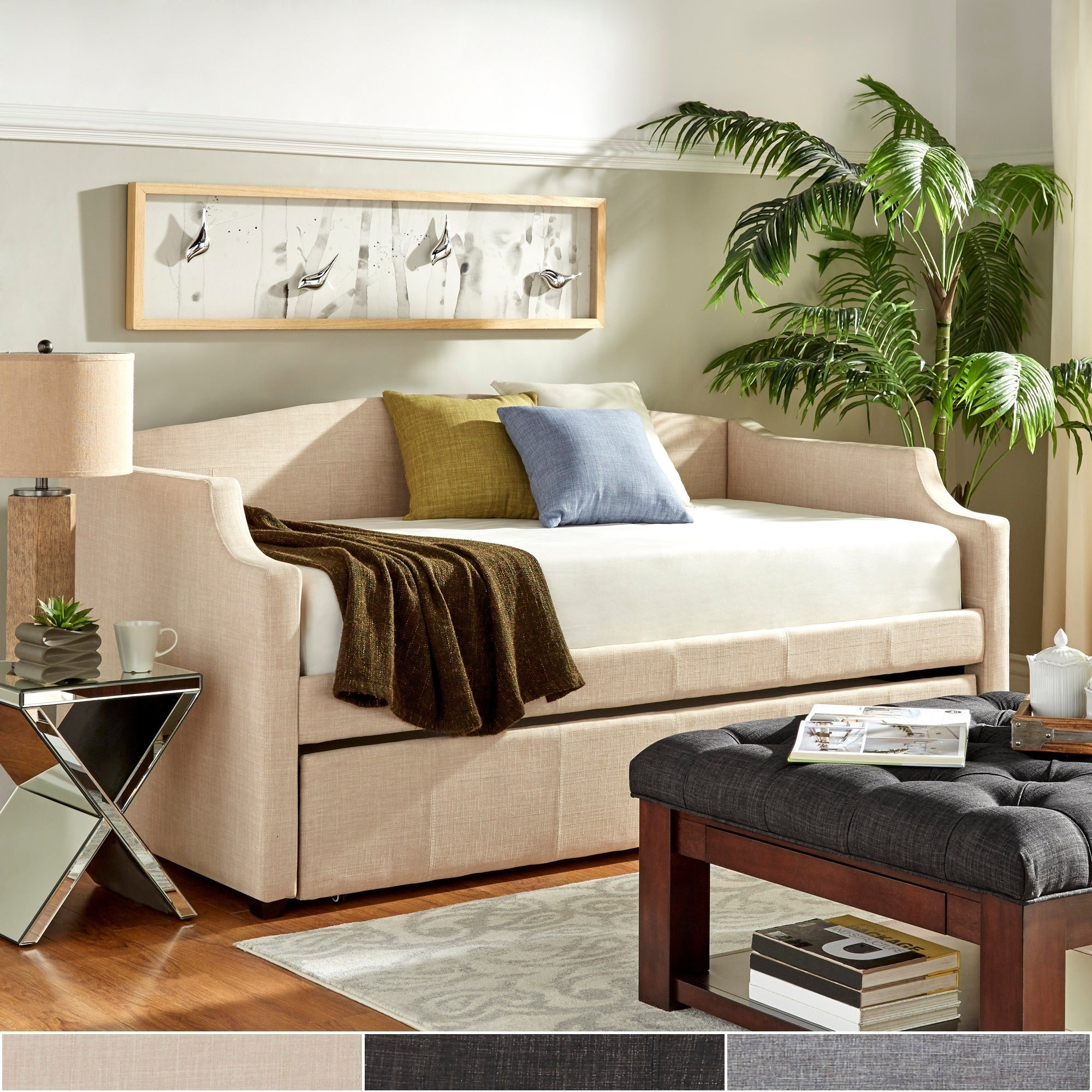 Deco Linen Slope Arm Daybed and Trundle by iNSPIRE Q Bold...