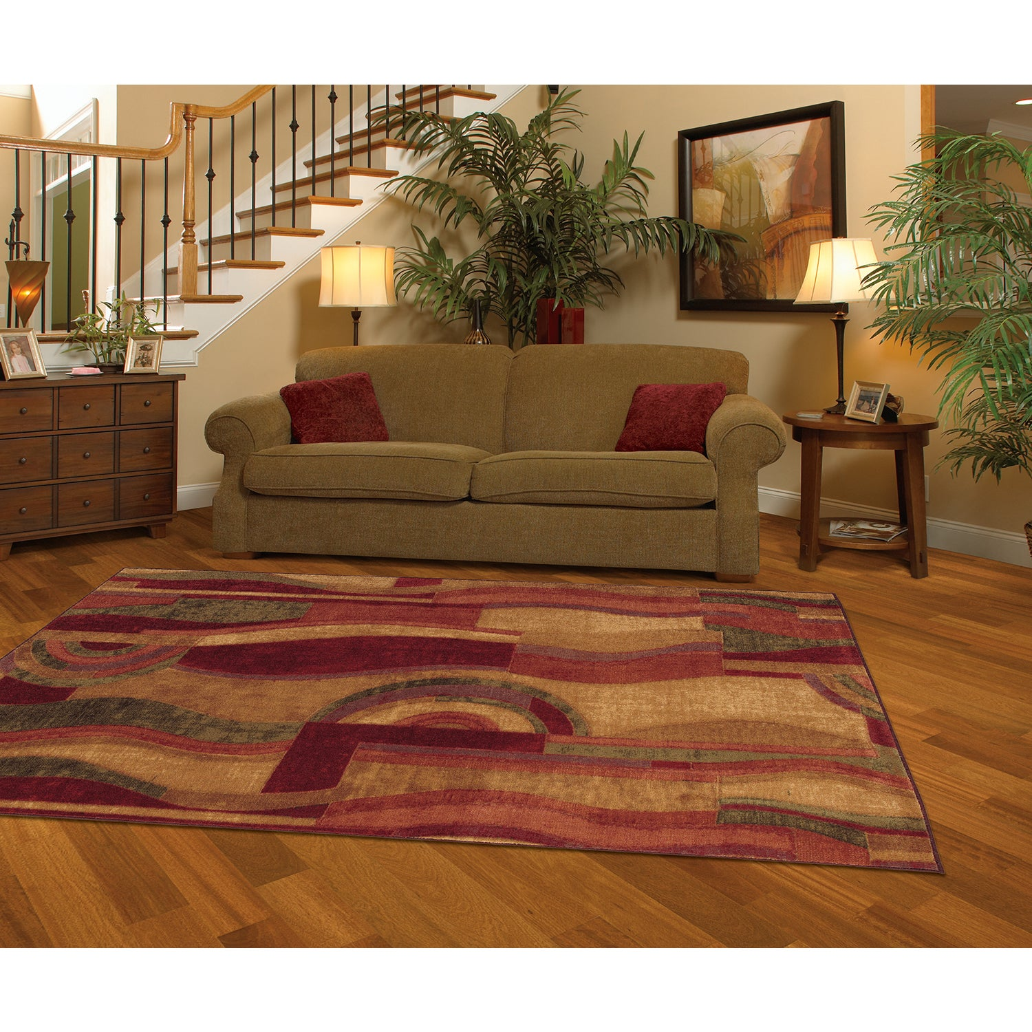 MOHAWK Home New Wave Picasso Wine Area Rug (7'6 x 10') (W...