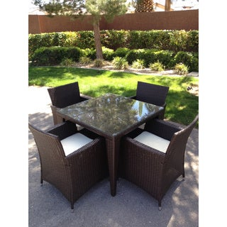Outdoor All-weather Rattan Wicker Patio Garden Brown 5-piece Dining Set