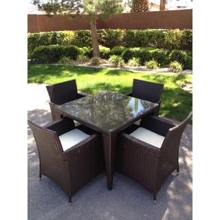 Outdoor All-weather Rattan Wicker Patio Garden Brown 5-piece Dining Set
