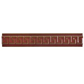 SomerTile 1x5.875-inch Aspect Scarlet Greek Key Listello Porcelain Wall Trim Tile (6/Pack, 0.24 sqft.)