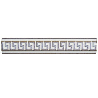 SomerTile 1x5.875-inch Aspect Ivory Greek Key Listello Porcelain Wall Trim Tile (6/Pack, 0.24 sqft.)